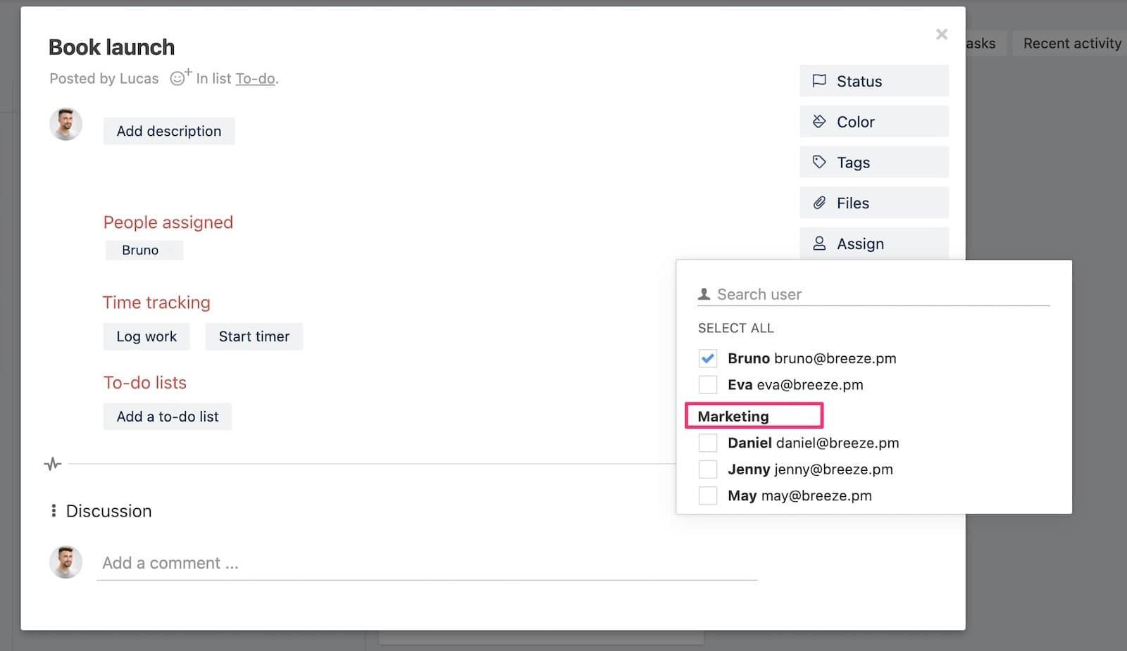 User group assign tasks