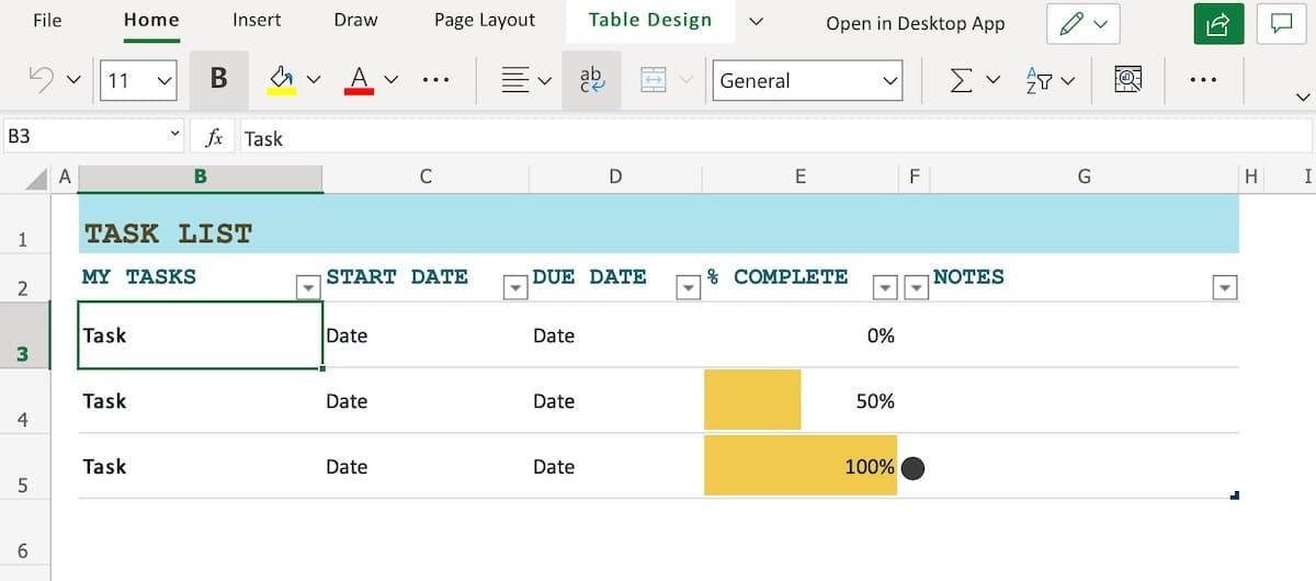 Excel task list