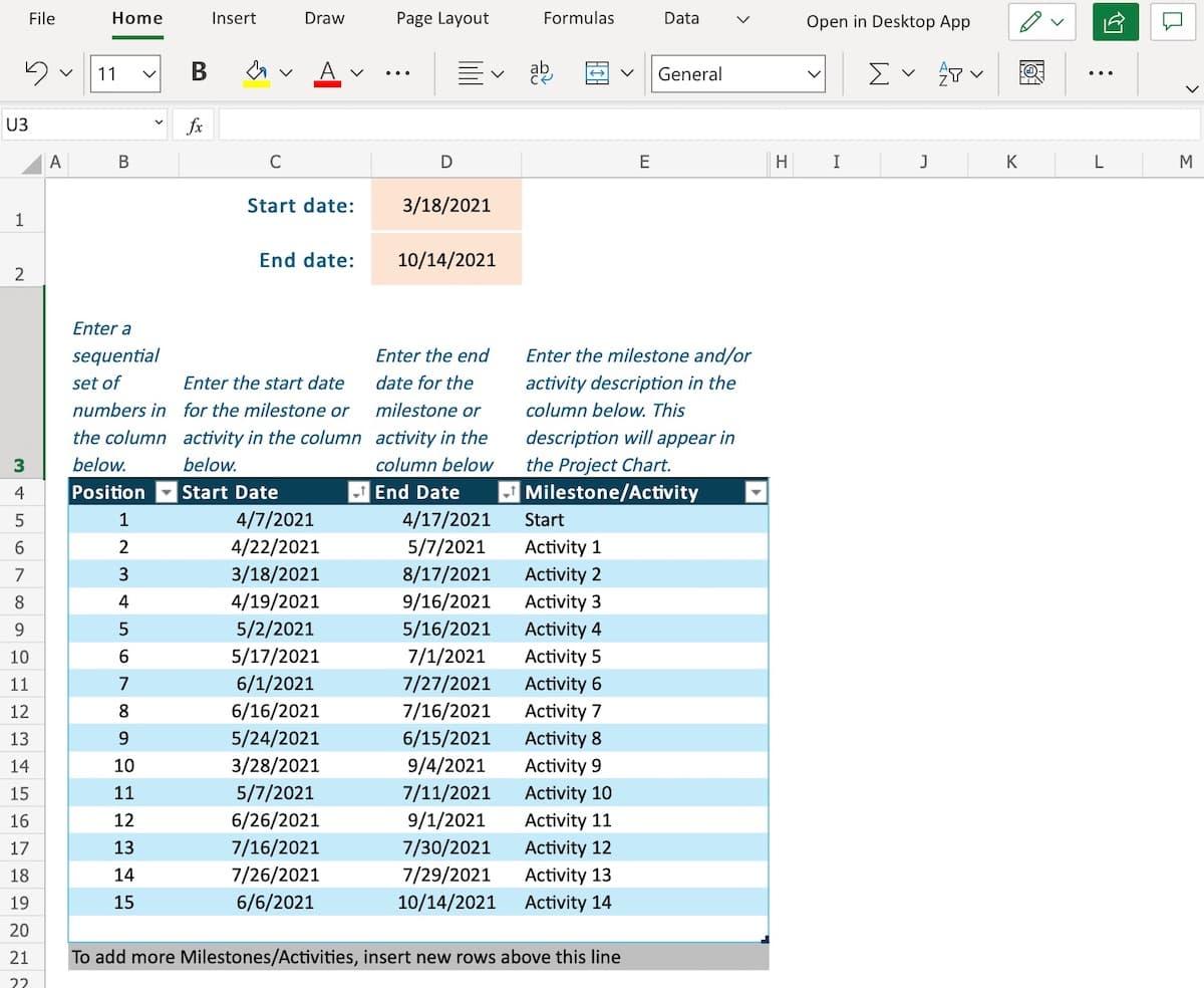 Excel timeline task list