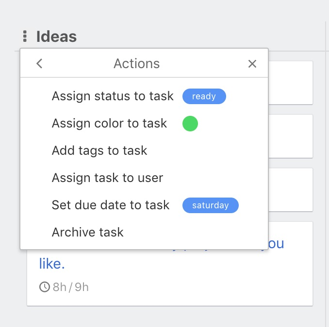 Automated actions menu