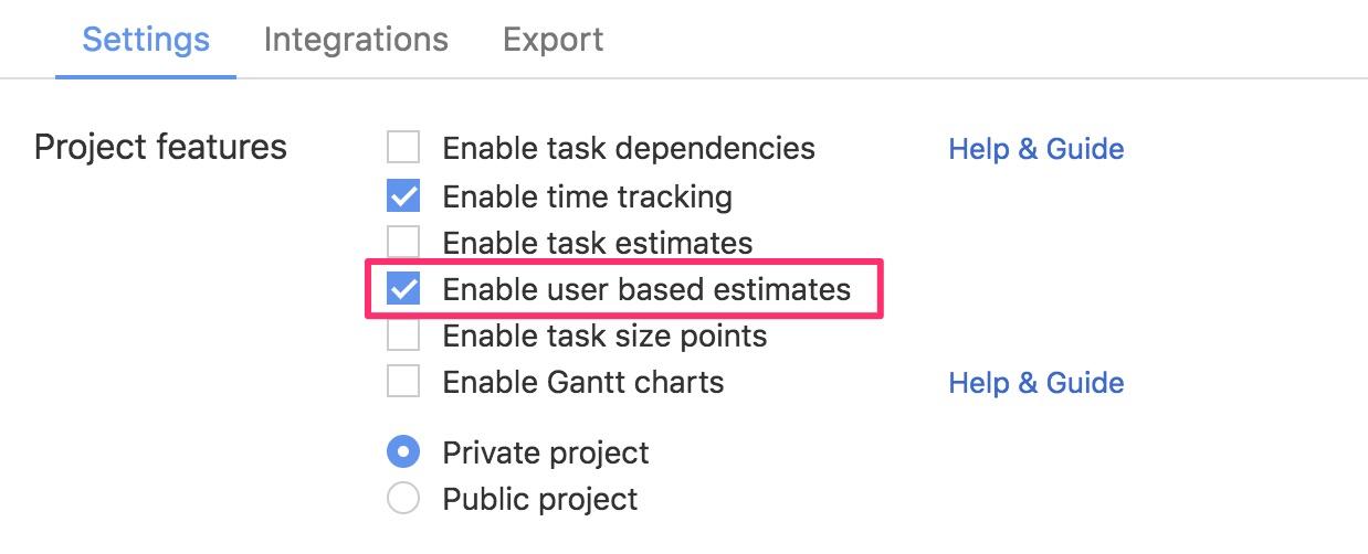 Enable user based estimates