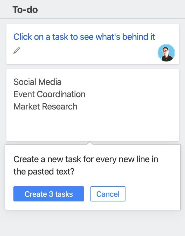 Task add inline paste