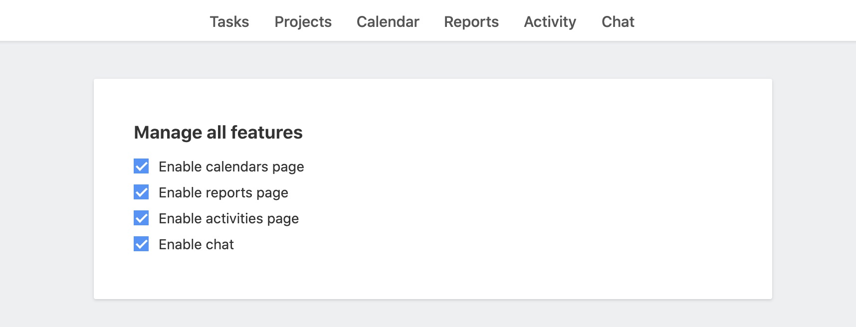 Manage features