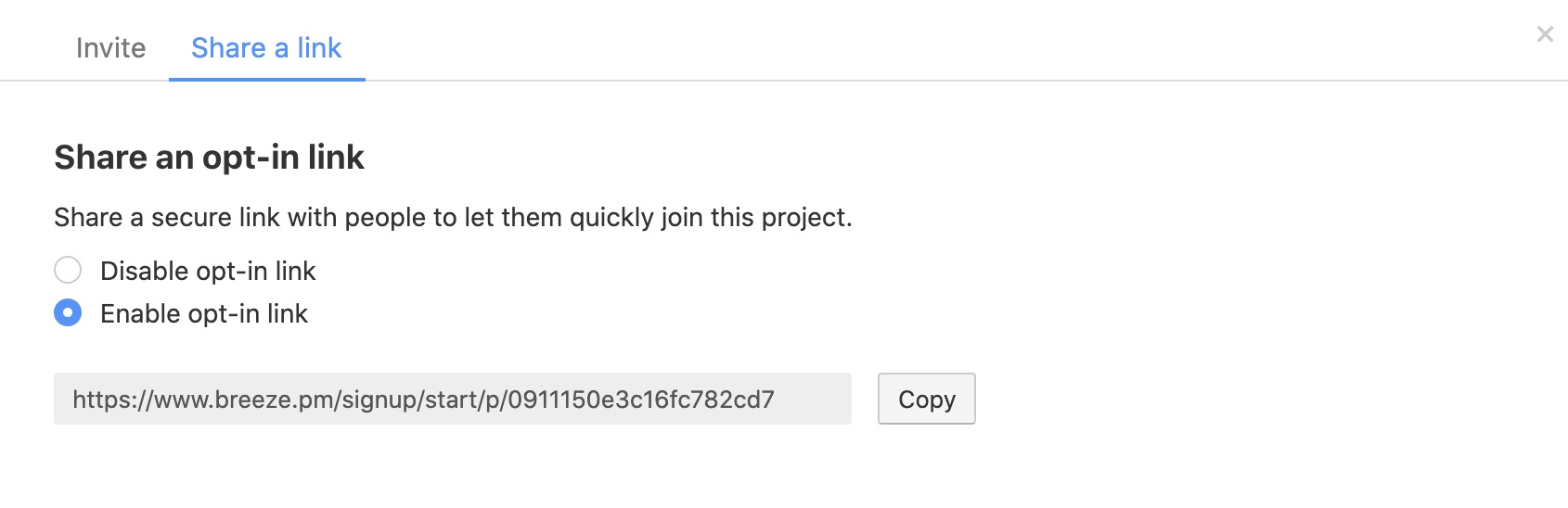 Project opt-in link
